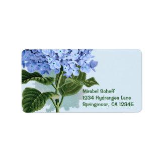 Hydrangea del azul del vintage etiquetas de dirección