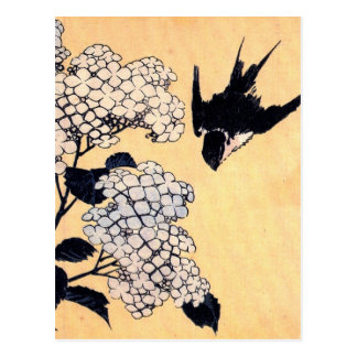 Hydrangea del japonés del vintage postal