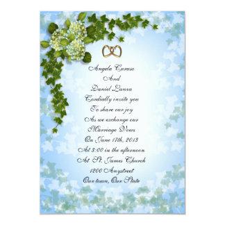 Hydrangea e hiedra de la invitación del boda