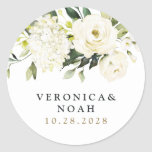 """Hydrangea Elegant White Gold Rose Floral Wedding Classic Round Sticker<br><div class=""""desc"""">Design features elegant hydrangea and rose watercolor elements in shades of white,  gold,  ivory,  champagne and other neutral colors over greenery,  eucalyptus and other botanical foliage.</div>"""