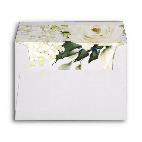 Hydrangea Elegant White Gold Rose Floral Wedding Envelope