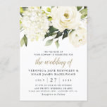 """Hydrangea Elegant White Gold Rose Floral Wedding Invitation<br><div class=""""desc"""">Design features elegant hydrangea and rose watercolor elements in shades of white,  gold,  ivory,   champagne and other neutral colors over greenery,  eucalyptus and other botanical foliage.  This template also features a modern typography layout that consists of cursive and sans serif fonts in light black and gold color.</div>"""