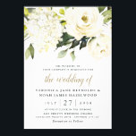 "Hydrangea Elegant White Gold Rose Floral Wedding Invitation<br><div class=""desc"">Design features elegant hydrangea and rose watercolor elements in shades of white,  gold,  ivory,   champagne and other neutral colors over greenery,  eucalyptus and other botanical foliage.  This template also features a modern typography layout that consists of cursive and sans serif fonts in light black and gold color.</div>"