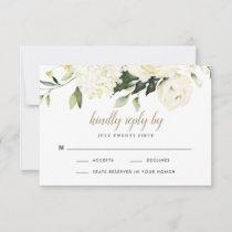 Hydrangea Elegant White Gold Rose Floral Wedding RSVP Card