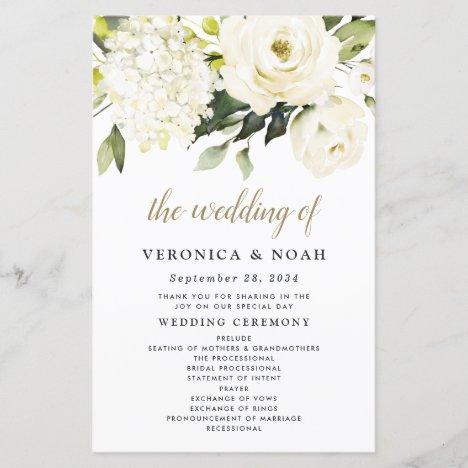 Hydrangea Elegant White Gold Rose Wedding Programs