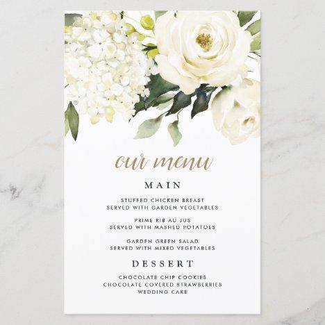 Hydrangea Elegant White Gold Wedding Menu Cards
