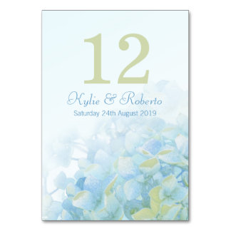 Hydrangea floral blue green wedding table numbers table cards