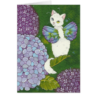 Hydrangea Floral Cat Fairy Note Card Moussart