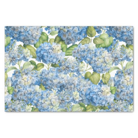 Hydrangea Floral Classic Blue Pattern Tissue Paper