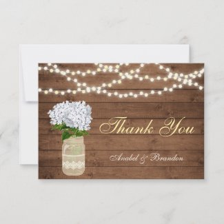 Hydrangea Floral Mason Jar Rustic Thank You Card
