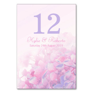 Hydrangea floral purple pink wedding table numbers table cards