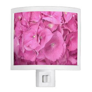 Hydrangea floral rosado lámpara de noche