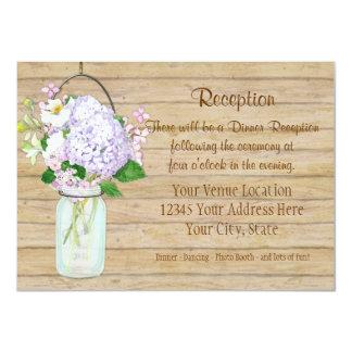 """Hydrangea floral rústico de la lavanda del tarro invitación 4.5"""" x 6.25"""""""