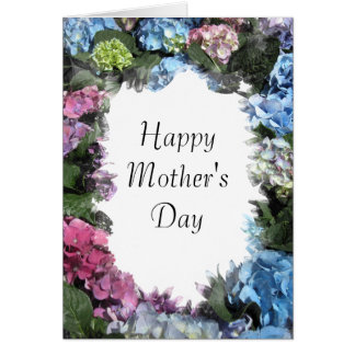 Hydrangea Flower Frame Mothers Day Card Greeting Card