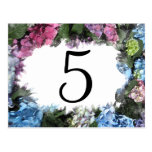 Hydrangea Flower Frame Table Numbers Postcards