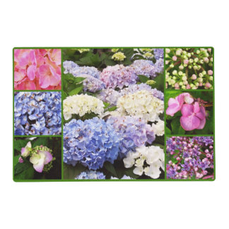 Hydrangea Flowers Collage-PAPER PLACE-MAT Placemat
