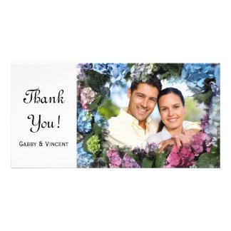 Hydrangea Flowers Frame Thank You Photo Card