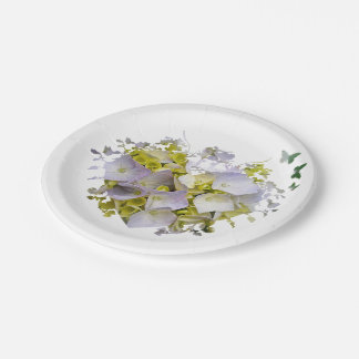 Hydrangea Flowers in Victorian Die Cut Heart Paper Plate