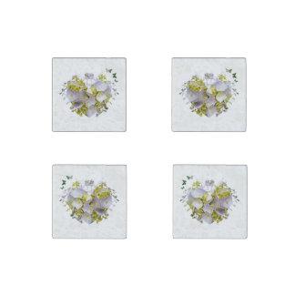 Hydrangea Flowers in Victorian Die Cut Heart Stone Magnet