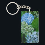 "Hydrangea Flowers Keychain<br><div class=""desc"">Beautiful in blue! Hydrangea flowers in different shades of blue &amp; green,  during the summer at the Rose Test Garden in Portland,  Oregon. They have more than just roses in these gardens!</div>"