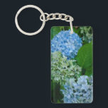 """Hydrangea Flowers Keychain<br><div class=""""desc"""">Beautiful in blue! Hydrangea flowers in different shades of blue &amp; green,  during the summer at the Rose Test Garden in Portland,  Oregon. They have more than just roses in these gardens!</div>"""