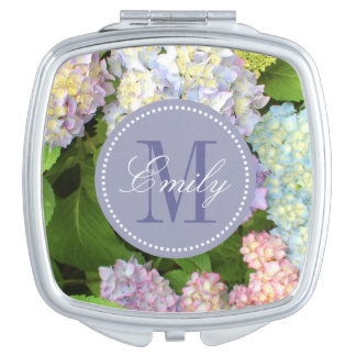Hydrangea Flowers Monogram Personalized Compact Travel Mirror