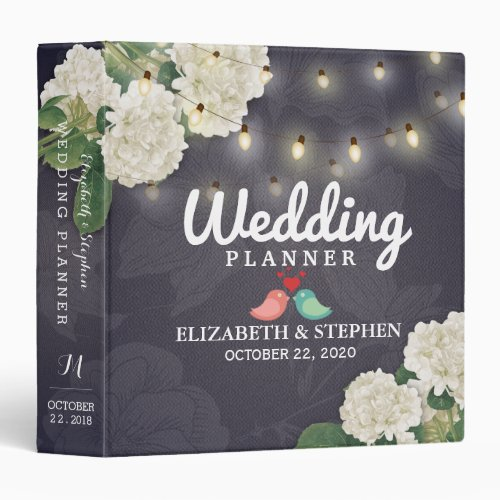 Hydrangea Flowers String Lights Wedding Planner 3 Ring Binder