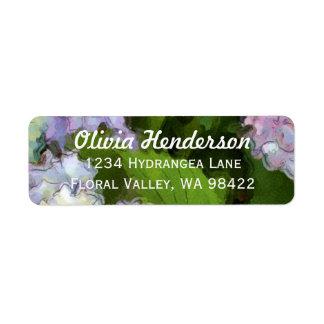 Hydrangea Flowers Watercolor Painting Label