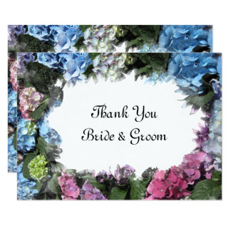Hydrangea Flowers Wedding Flat Thank You Notes Card
