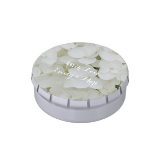 Hydrangea Flowers White Blossom Floral Bridal Chic Candy Tins