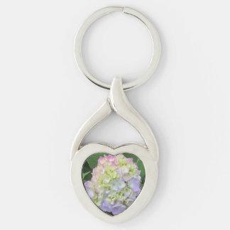 Hydrangea Green Pink Blue Flower Keychain