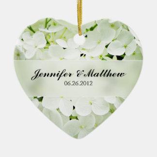 Hydrangea Heart Wedding Favor Ceramic Ornament