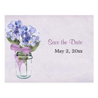 Hydrangea in a Mason Jar - Save the Date Postcard