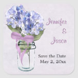 Hydrangea in a Mason Jar - Save the Date Sticker