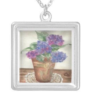 Hydrangea in Brass Square Pendant Necklace