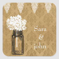 hydrangea in mason jar, burlap favor stickers