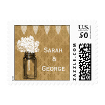 hydrangea in mason jar, burlap wedding stamps