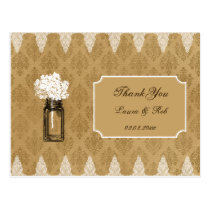 hydrangea in mason jar, burlap wedding thank you postcard
