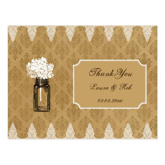hydrangea in mason jar, burlap wedding thank you postcard