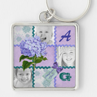 Hydrangea Instagram Photo Quilt Frame Purple Teal Keychain
