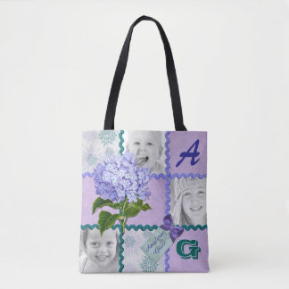 Hydrangea Instagram Photo Quilt Frame Purple Teal Tote Bag