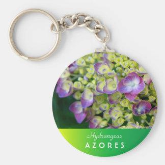 Hydrangea macro basic round button keychain