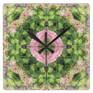 Hydrangea Mandala Square Wall Clock