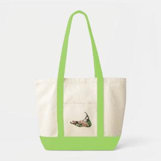 Hydrangea Map of Nantucket Island, Massachusetts Canvas Bags