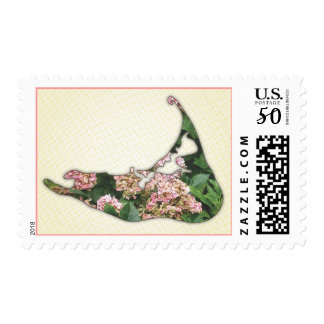 Hydrangea Map of Nantucket Island, Massachusetts Postage