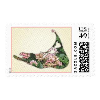 Hydrangea Map of Nantucket Island, Massachusetts Postage Stamps