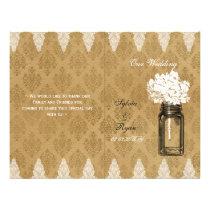 Hydrangea mason jar burlap folded Wedding program