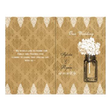 Hydrangea mason jar burlap folded Wedding program