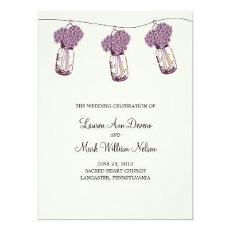 """Hydrangea & Mason Jar Ceremony Program 6.5"""" X 8.75"""" Invitation Card"""