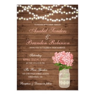 Hydrangea Mason Jar Rustic Wedding Invitation